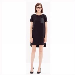 Madewell black faux leather pocket dress